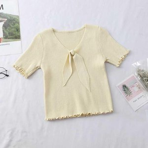 Heliar Women Knitted Tops Solid Loose Bow Knitting Short Sleeve Sweaters Preppy Campus Crochet Elegant Sweater Women Pullovers1