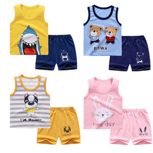 New Summer Kids Clothes Children Clothing Baby Boy Set Toddler Baby Girls Clothing Set Cotton Cartoon T-shirts+Shorts for 1 2 3 4Y