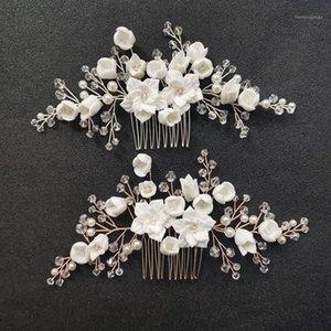 Slbridal fait main cristal strass perles de céramique fleur mariée mariée peigne peigne pins de cheveux autocollants demoiselle d'honneur femme bijoux1