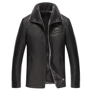 Men's Genuine Leather Jacket Real Cow Leather Plus Size Cowhide Jackets for Men Natural Lamb Fur Coat L178101 KJ841