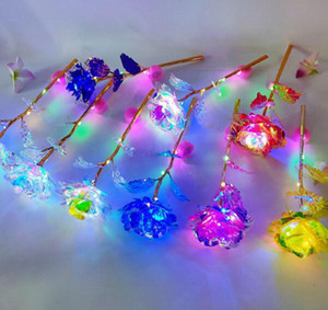 24k hoja de oro plateado Rose llevó la flor del arco iris Rose regalo de San Valentín luz chapado en oro de Navidad de la boda Decoración GGA3767