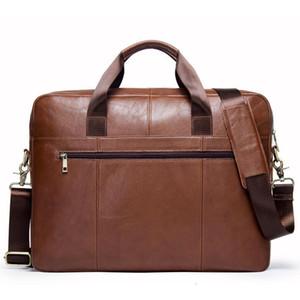 Single Shoulder Package Oblique Satchel Head Layer Cowhide 15.6 Inch Man Business Briefcase laptop messenger bag men leather
