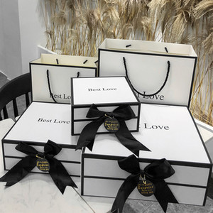 Paper Cardboard boxes bags set Packaging unfolding Gift Box with ribbon for gift packing box for wallet belt clothes