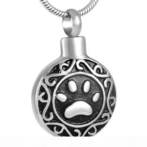 Wholesale Pet Cremation Urn Pendant Necklace Stainless Steel Keepsake Pet Paw Print Memorial Cremation Jewelry for Dog Cat 8584
