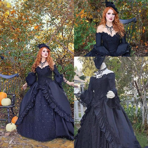 Vintage Victorian Black Ball Gown Wedding Dresses with Long Sleeve 2021 Retro Plus Size Lace Gothic Corset Lace-up Back Bridal Gowns AL7260