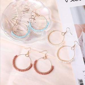 Handmade Glass Beaded Hoop Dangle Earring for Women Colorful Gold Alloy Drop Earring Fashion Jewelry Gift ps1876