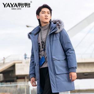 YAYA Men Winter Real Raccoon Fur Collar Down Jacket Big Pocket Thicken Warm Long Blue Apricot Black Coat 201022
