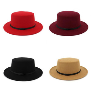 Jazz Formal Hat Panama Cap Men Women Flat Felt Fedora Hats Winter wide Brim caps Woman Trilby Chapeau Lady headwear Fashion Accessories NEW