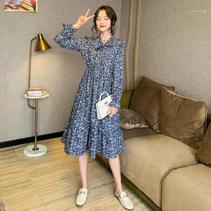 Wiccon Çiçek Elbise kadın Bahar 2021 Yeni V Yaka Lace Up Bel Gevşek Uzun Kollu Baskılı Diz Boyu Elbiseler Bayan1