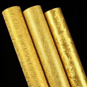 Luxury Gold Ceiling Wallpaper Gillter Gold Foil Wallpaper for Living Room Papel De Parede
