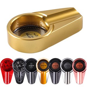 Metal Cigar Ashtray Portable Travel Cigarette Ashtrays Pocket Outdoor Car Ash Tray W  Cigar Holder Fit Cohiba AccessoriesJF-044