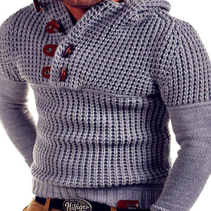 Men's autumn and winter new hooded pan button sweater knit sweater Korean version of pure thick woolen coat