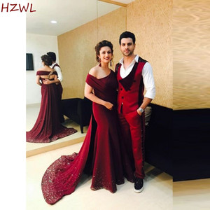 Burgundy Off The Shoulder Evening Gowns Satin Sequins Sweep Train Prom Dresses Elegant Mother Of Bride Dress Robe De Soiree