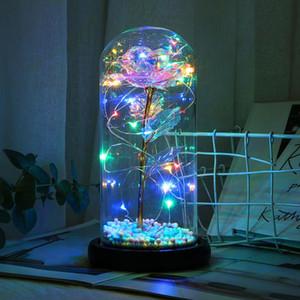 New Color String Light Glass Cover Gold Foil Rose Flower Home Led Night Light Table Decoration Lover Gift