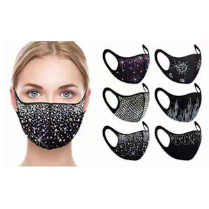 face mask  Rhinestone Sequin bling masks 2021 New Rhinestone Cotton mouth Mask new arrival black Sequin Dustproof Haze facemask
