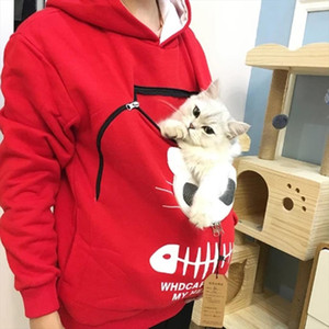 Women Cat Lovers Sweatshirt Animal Pouch Hood Tops Carry Cat Breathable Pullover Kangaroo Pocket Dog Pet Hoodies T2G