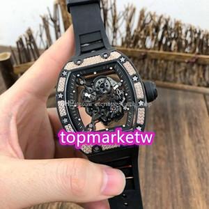 I produttori di alta qualità Top Versione RM 055 Ntpt tutto il carbonio diamanti cassa della fibra Lunetta Scheletro Quadrante Giappone NH automatico Rm055 Mens Watch Ru