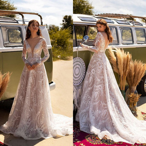 2021 Bohemia Wedding Dresses V Neck Long Sleeves Appliques Lace Bridal Gowns Custom Made Button Back Sweep Train A Line Wedding Dress