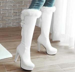 Stivali da donna di modo di formato da 32 a 43 con la scatola bel matrimonio Bridal Shoes Winter White Pelliccia Stivali al ginocchio delle donne di lusso di alta Boots