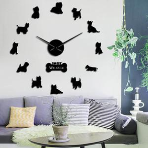 Raça West Highland Terrier Westie Longo relógio mão 3D DIY relógio de parede Filhote de animal autoadesivo Big Acrílico Time Clock Assista 1008
