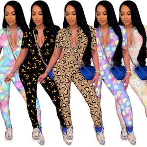 INS Cute Pattern Printing Women Jumpsuits 2021 New Spring Summer Short Sleeves Turn Down V Neck Skinny Nightclub Rompers S-2XL