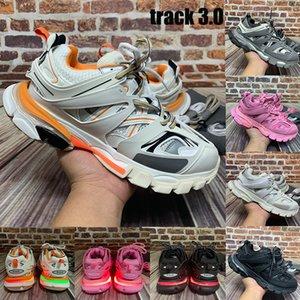 Alta calidad de la vía Paris 3,0 llevado zapatos casuales para hombre de color naranja blanco negro rosa gris de la moda, hombres, mujeres zapatillas de deporte de Estados Unidos 5,5-11