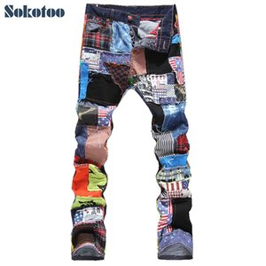 Sokotoo Men's patchwork spliced ripped denim jeans Male fashion slim colored patch buttons fly straight pants Free shipping 201004