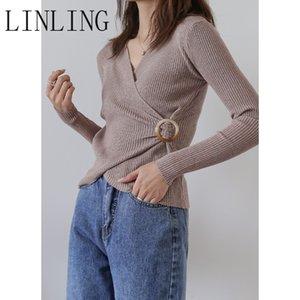 Linling Kadınlar Örme Triko Uzun Kollu V yaka Yaka Bel Ring Günlük Katı Moda Kazak Bayanlar Kış Kazak