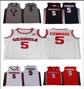 2020 NCAA Geórgia Bulldogs Basquete 5 Anthony Edwards Jerseys Branco Vermelho Preto Cinzento Novo Edwards College Jersey Stitched University