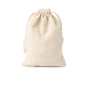 50 stücke Luxus Schmuck Leinen Kordelzug Taschen Beutel 8x10 cm 9x12 cm 10x15 cm Hochzeitsfeier Favor Inhaber Baumwolle Geschenk Verpackungstasche