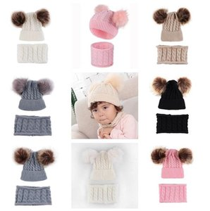 0-2 Years Baby Kids Beanies Winter Hat Scarf Set with Two Fur Pom Balls Tuque Twist Knit Skull Caps Infants Toddler Warm Headwear E102001