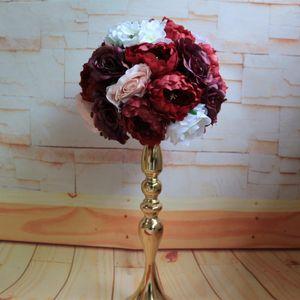 10 unids / lot Artificial Rose Flower Wall Fondo de boda Tabla de decoración Centerpiece Flower Ball Corredor Plantas artificiales