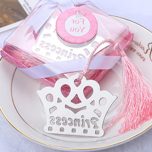 (10 pieces lot) Prince And Princess Crown Bookmark Baby Girl Baby Boy Shower Baptism Wedding Birthday Gifts And Souvenirs BK017P