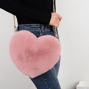 Mode frauen herzförmige handtaschen niedlich kawaii faux pelz crossbody taschen brieftasche geldbörse plüschkette umhängetasche dame handtasche