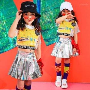 Summer Girls Hip Hop Dance Vêtements de danse pour Enfants Chemise Tops Jogger Argent Jupes Jazz Ballroom Danse Costumes Costumes de vêtements