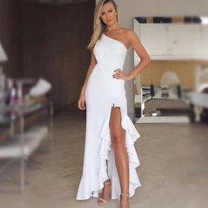 Paris Girl Irregular One Shoulder Sexy Dress Women Summer Elegant White Bodycon Dress Twisted Ruffles Slit Hem Dresses Mujer