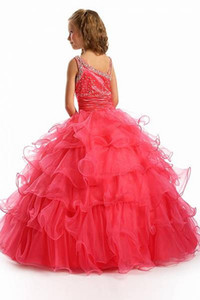 Ball Gown Ruffle Crystal Formal Floor Length Flower Girl Dresses Children Birthday Dress Kids Wedding Party Dresses