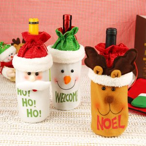 New Christmas Gift Bag Decorations Santa Claus Bag Wine Glass Bottle Set Christmas Champagne Decoration Wine Bag