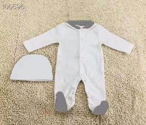 Yeni Bebek Erkek ve Kız 'Tek Parçalı Takım Tasarımcı Çocuk Uzun Kollu Pamuk Tek Parça Suit + Şapka + Bib 3-piece Set