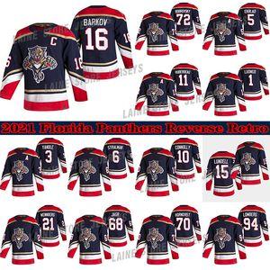 Florida Panthers Jersey 2021 Reverse Retro 72 Sergei Bobrovsky 16 알렉산더 Barkov 1 Roberto Luongo 5 Aaron ekblad 하키 유니폼