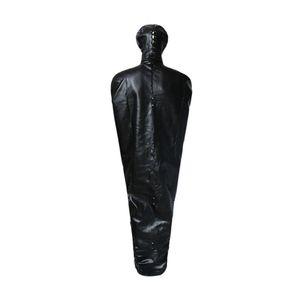 Traje completo PU Leather Mummy Saco de dormir BDSM Bondage Straitjacket Fetish Restraint Slave Chapelaria capa Máscara Traje