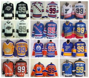 Ice Hockey 99 Wayne Gretzky Jersey Men Rangers LA Kings Oilers St. Louis Blues Wayne Gretzky Jerseys All Star Blue White Red