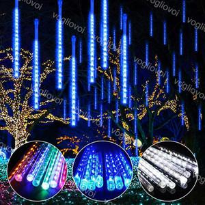 Tiras LED 8pcs / set 30 cm 50 cm impermeable Tubos de lluvia de ducha de meteorito a prueba de agua Iluminación al aire libre 110-240v US UE Plug para fiesta Boda Navidad DHL