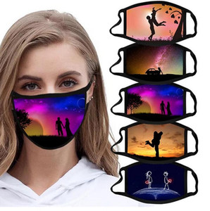 Washable Cotton Face Mask Anti-dust Unisex Adults Valentines Printing Masks Reusable Mouth Cover Valentines Day Party Gifts Masks