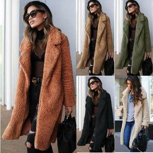2020 Kış Yeni Moda Kadın Caot Katı Fleece Toplama Yaka Açık Dikiş Uzun Süre Caot