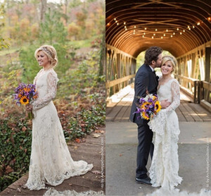 2021 Elegant Kelly Clarkson Full Lace Wedding Dresses Bohemian Country A Line Long Sleeves Bridal Gowns Gothic V Neck robes de mariée AL7298