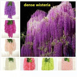 8 colors dense wisteria flower artificial silk flower vine 110cm elegant wisteria vine rattan for garden home wedding decoration