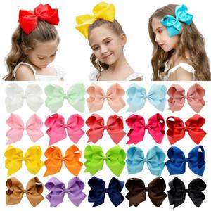 1pcs 6 Zoll 40 Bunte Kind-Mädchen Big Fest Band-Bogen-Clips mit großen Haarnadel Boutique Haarspangen Haarschmuck 588