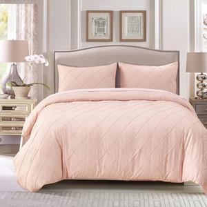 Solid Pink Color Lattice Pattern Twist Quilt Cover Queen King Duvet Cover Pillowcase Home Bedding Set 3pcs US Size #305