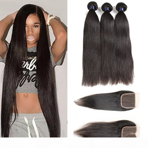 Brazilian Virgin Hair Weaves Straight 3 Bundles With Lace Closure Malaysian Human Hair Bundles With Closure Straight Hair Wefts